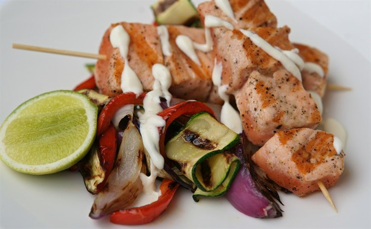 Char-grilled salmon kebabs & vegetables with lime mayo