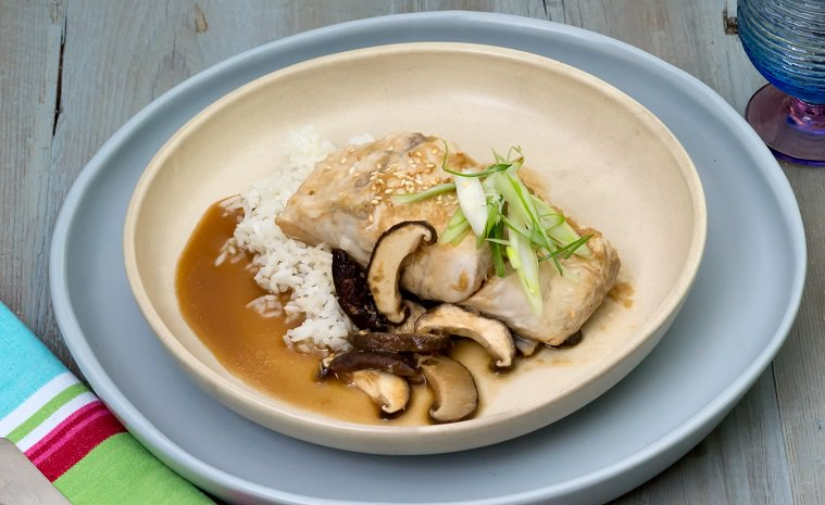 Steamed barramundi fillet with lime, ginger & shiitake