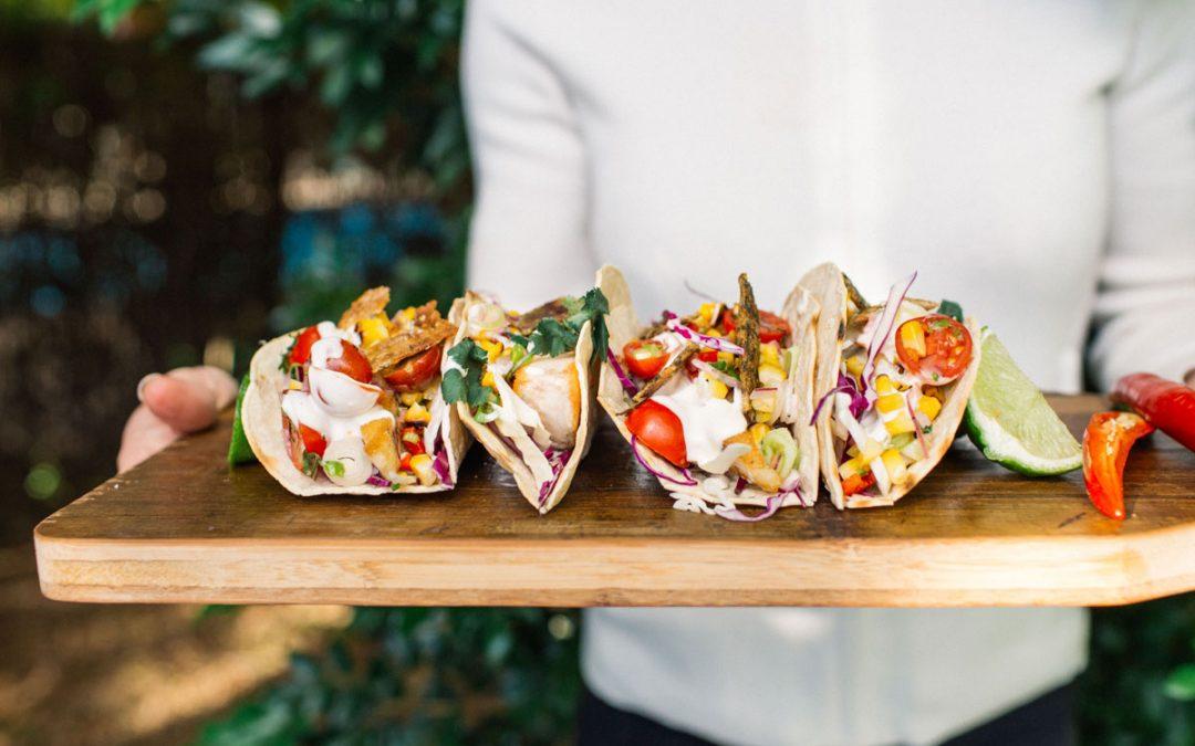 Barramundi tacos with rainbow slaw and salsa