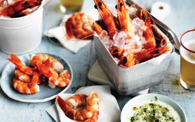 A bucket of Australian prawns with Texas green chilli mayonnaise