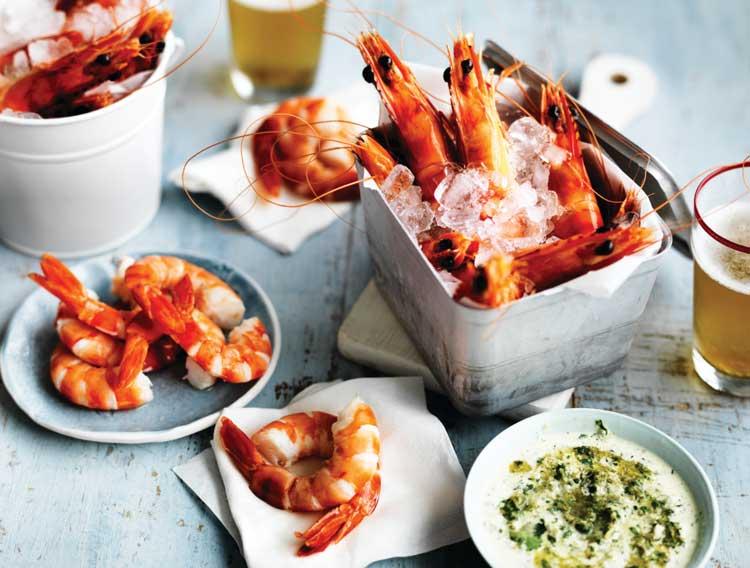 A bucket of Australian prawns with Texas green chilli mayonnaise