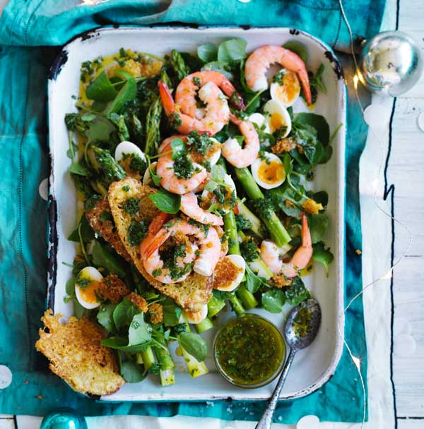 Asparagus and baby prawn salad with quail eggs and parmesan wafer crostini