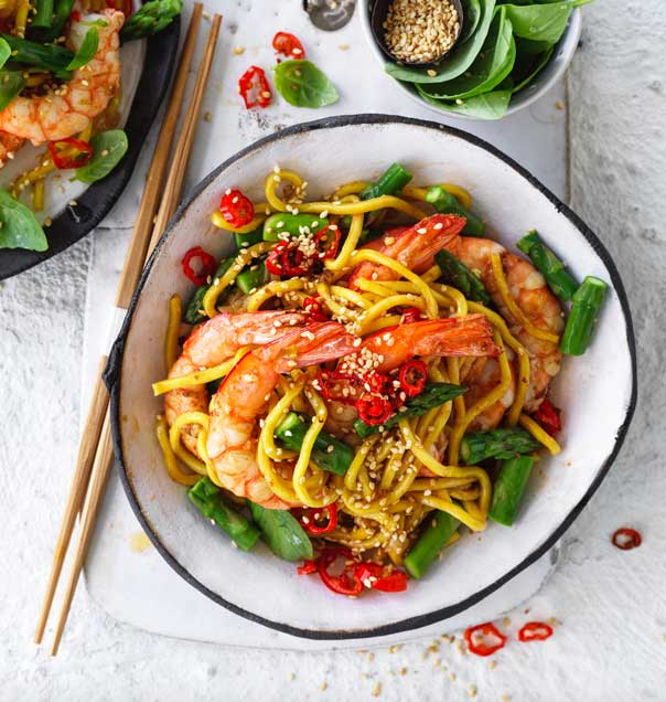 Australian prawns with asparagus hokkien chilli and basil