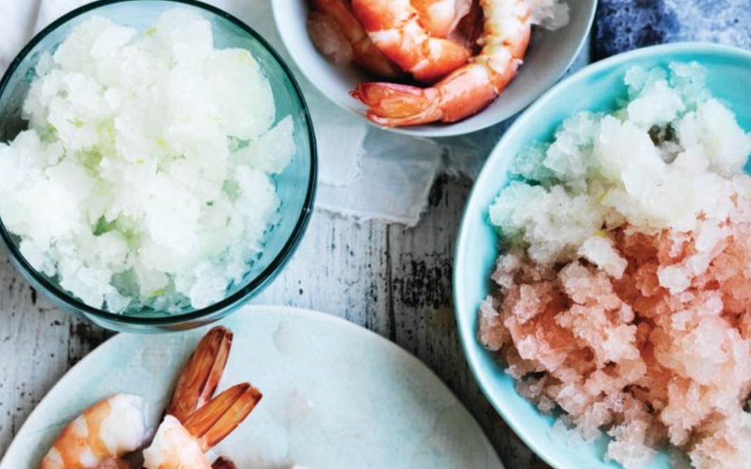Australian prawns with vodka & lemon or vodka & pink grapefruit granita