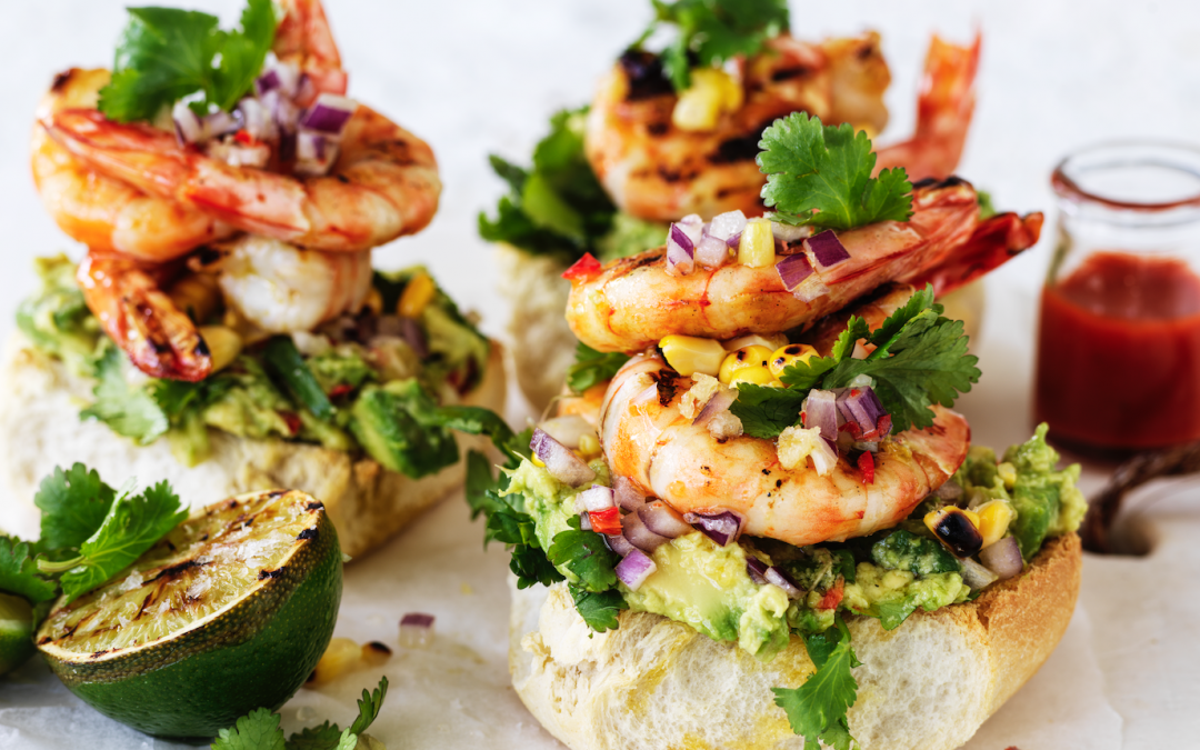BBQ'd prawn rolls with charred corn avocado smash