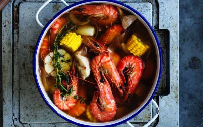 Cajun prawn boil with lemon drawn butter sauce