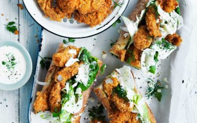 Crispy deep fried prawn baguette with a fennel and buttermilk slaw