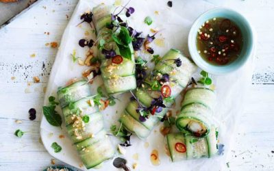 Cucumber and coconut prawn rice paper rolls