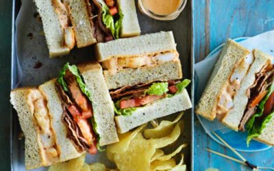 English Prawn club sandwich