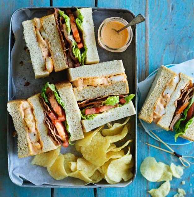 English Prawn club sandwich
