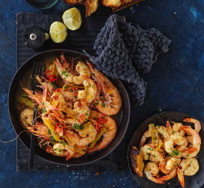 Garlic prawns with citrus chilli butter