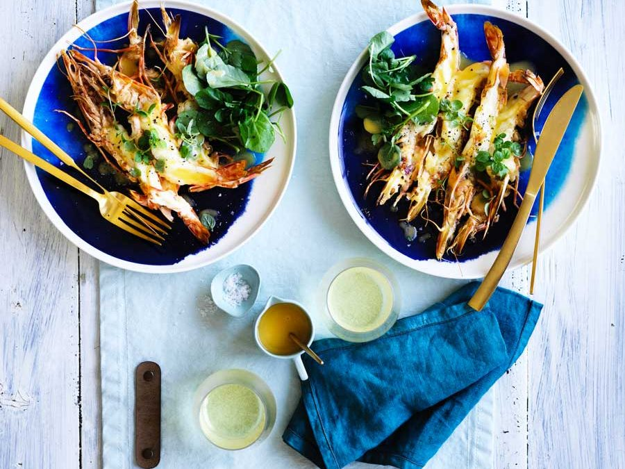 Grilled jumbo prawns butterflied with a champagne beurre blanc