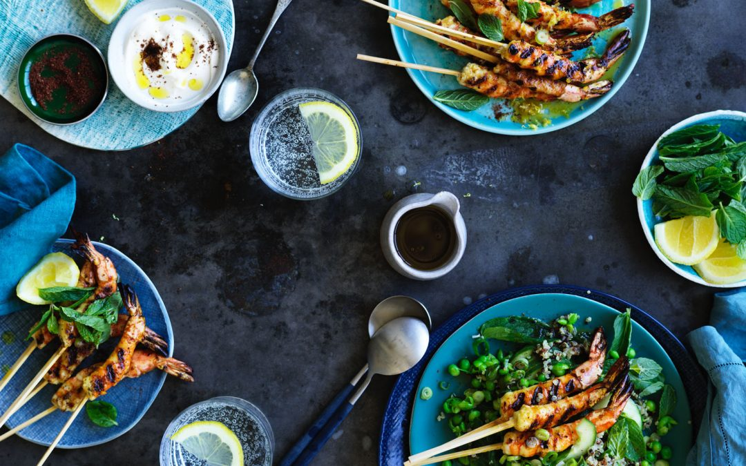 Grilled prawns with pea tabbouleh