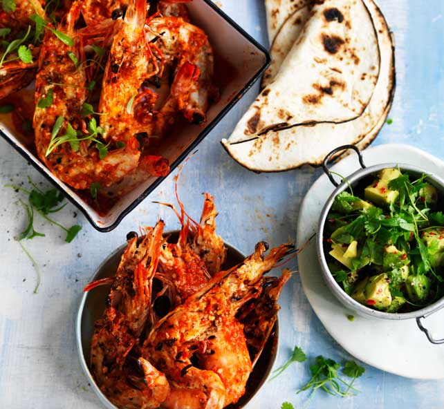 Grilled prawns with sesame chipotle mole and tortilla