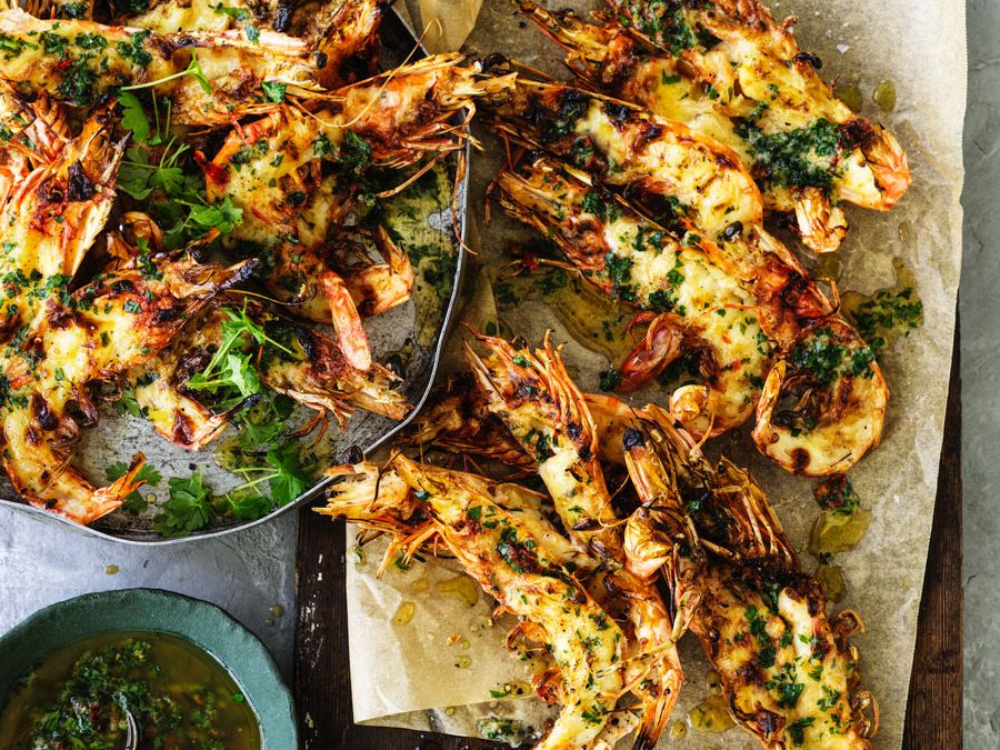 Jumbo prawn mornay with garlic parsley butter