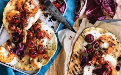 Lemon Chilli Australian prawn & radicchio pizza
