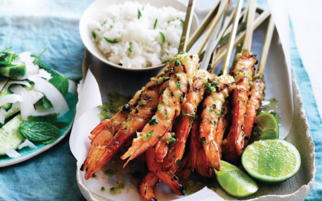 Lime and Lemongrass BBQ Prawn skewers