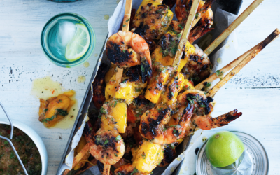 Mango and prawn skewers with lime and aioli