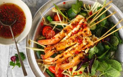 Nuoc cham marinated prawns with green mango salad