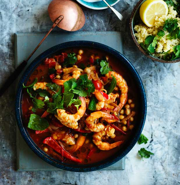 Prawn and chickpea tagine