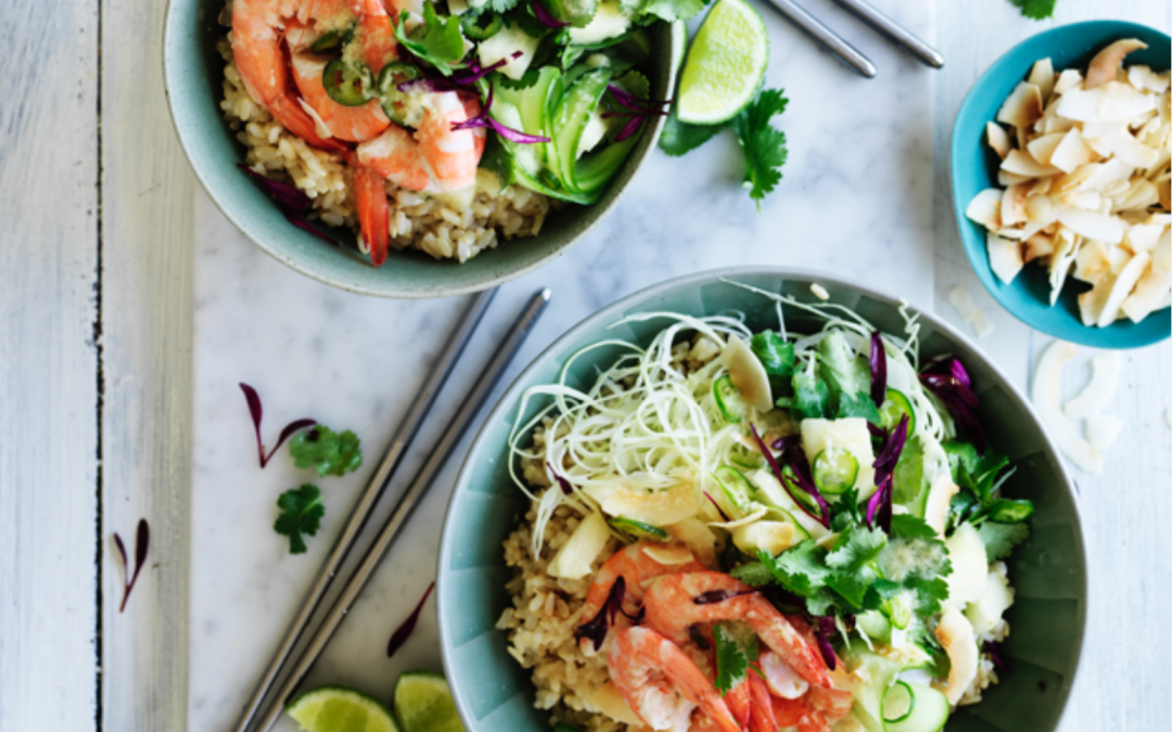 Prawn brown rice poke bowl