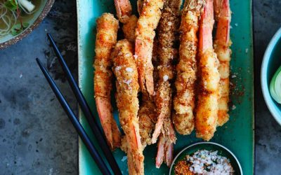 Salt and togarashi pepper prawns