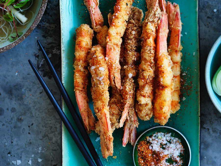 Salt and togarashi pepper prawns