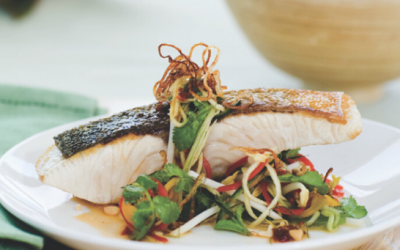 Crispy Skinned Kingfish Salad with Mango and Lime-mint dressing