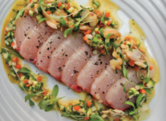 Kingfish Sashimi with Vongole & Aromatic Vinagrette