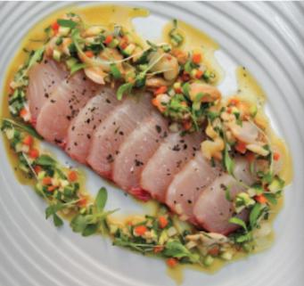 Kingfish Sashimi with Vongole & Aromatic Vinagrette