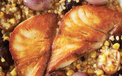 PAN ROASTED HIRAMASA KINGFISH with CHARRED CORN, FREGOLA & SHIITAKE MUSHROOMS