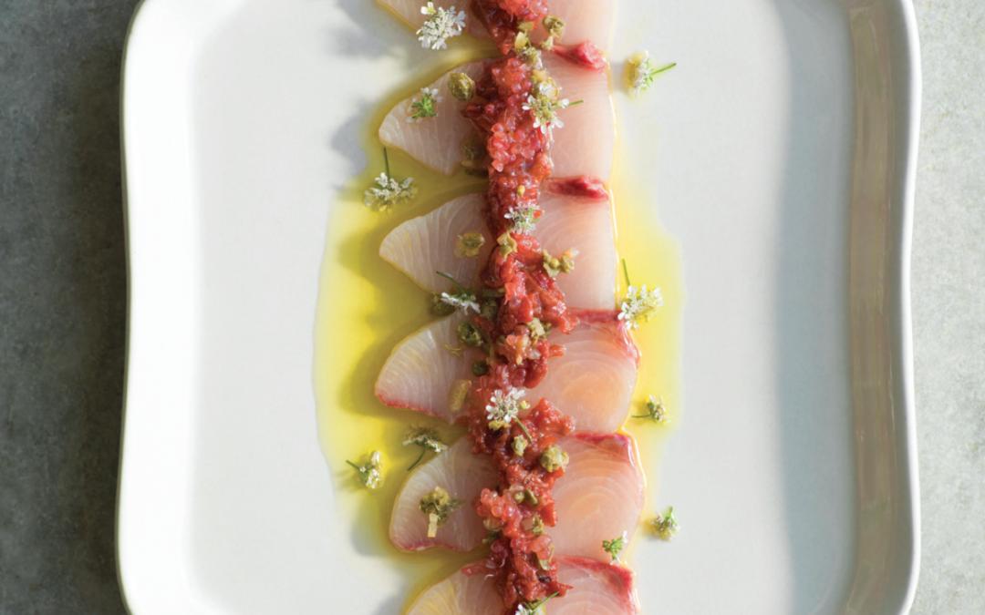 Sashimi of Hiramasa Kingfish with quandong, finger limes & capers