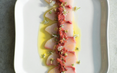 Sashimi of Hiramasa Kingfish with quandong, finger limes & capers