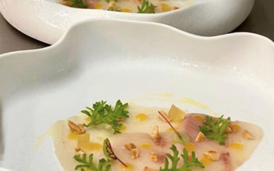 Italian Style Ricciola Carpaccio with Yuzu and Toasted Peanuts