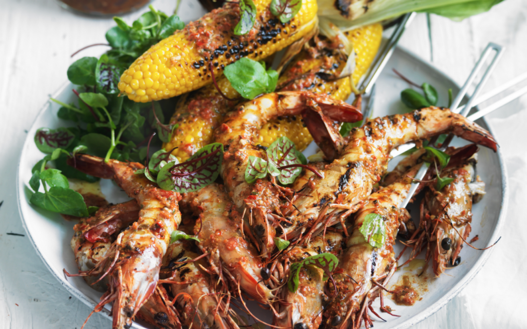 Jerked barbecued jumbo prawns with chilli lime corn