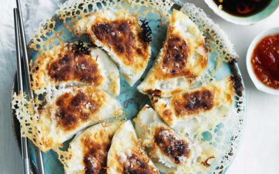Pork belly and prawn pot stickers