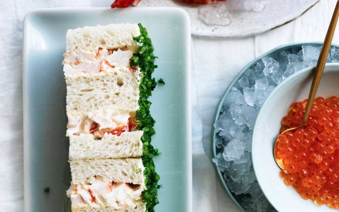 Prawn finger sandwiches with chives and chilled salmon caviar