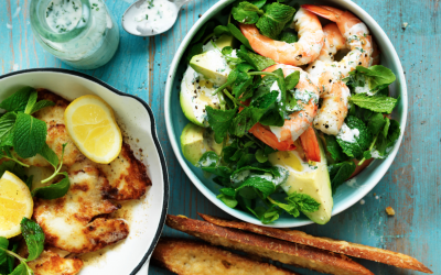 Crispy haloumi, prawn and avocado salad with parmesan crisps