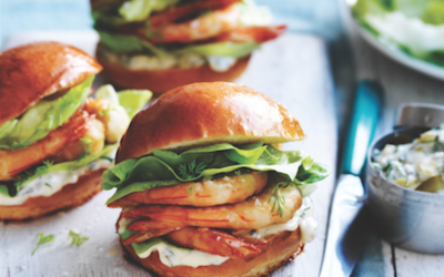 Crispy prawn sliders with dill pickle mayonnaise