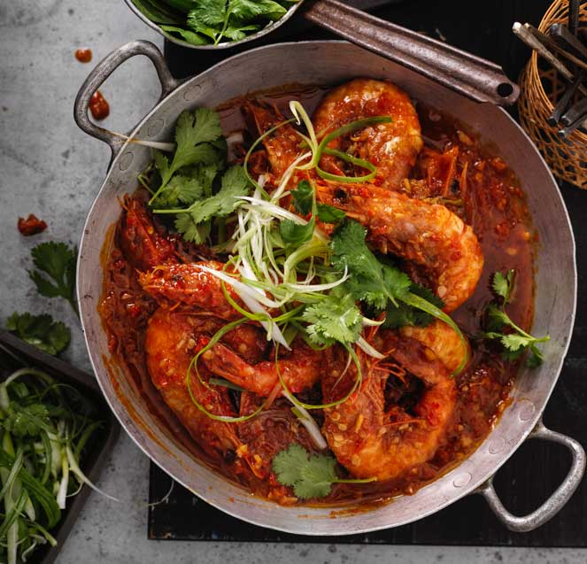 Singapore chilli prawns