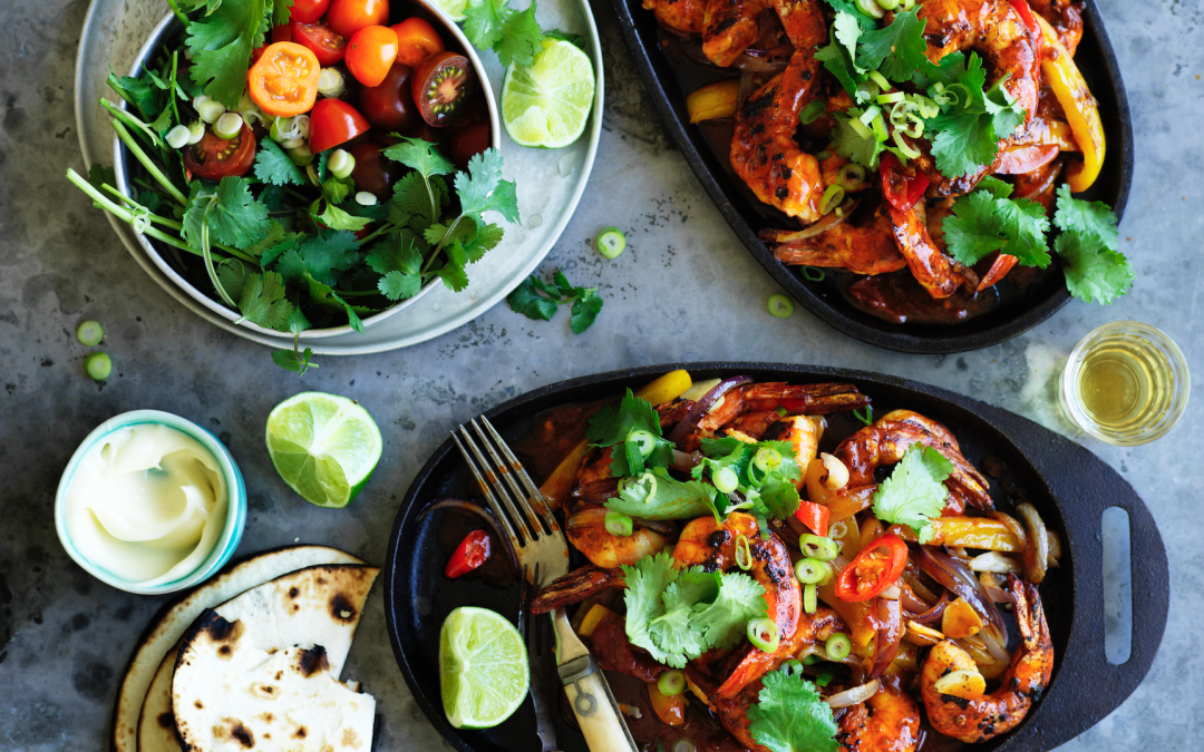 Sizzling prawn fajitas with chipotle hot sauce and tequila mayonnaise