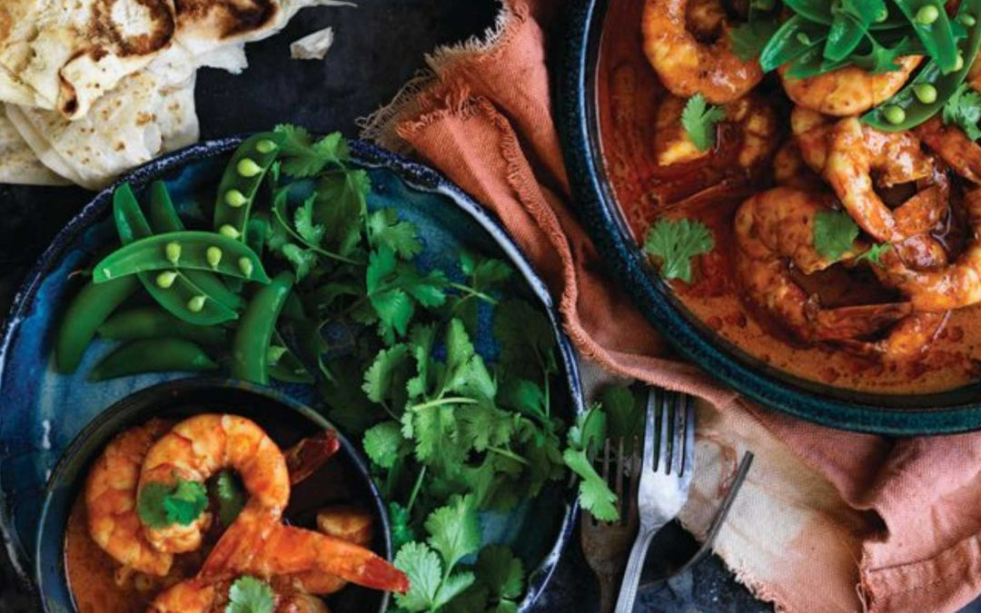 Spicy red prawn curry