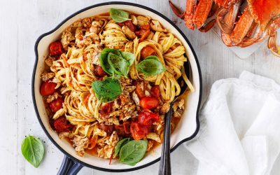 Easy As Australian Crab Linguine with fresh tomato, garlic and basil