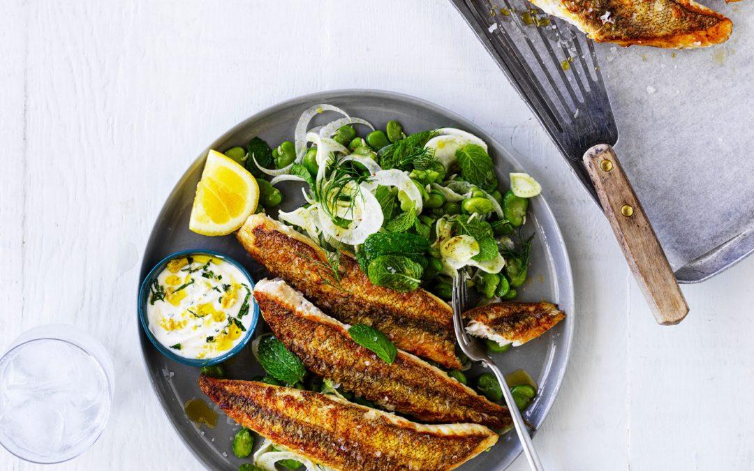 Easy As Pan Fried Australian Flathead with lemon yoghurt and salad