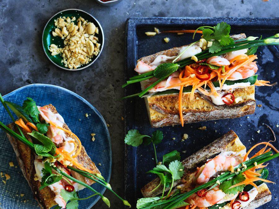 Vietnamese prawn banh mi sandwich
