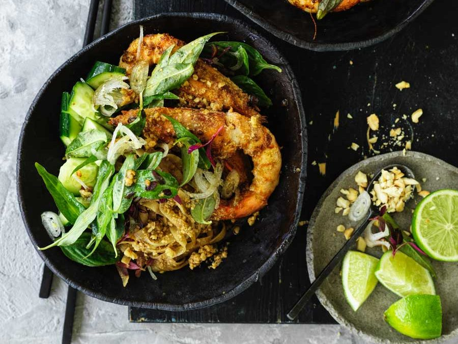 Whole prawn satay with stir fry rice noodles, cucumber and asian herbs