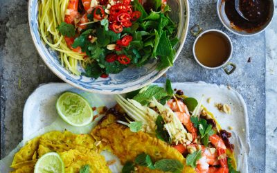 Coconut turmeric pancake with prawns