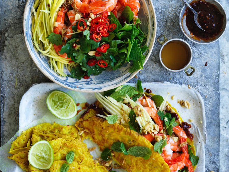 Coconut turmeric pancake with prawns