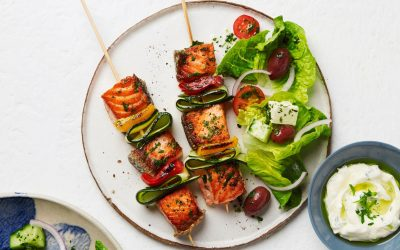 Tasmanian Atlantic Salmon Skewers with Zucchini & Capsicum