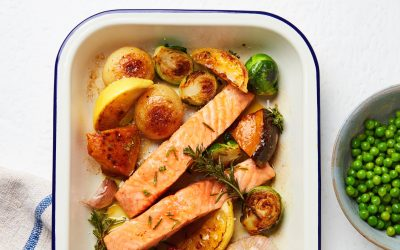 Tasmanian Atlantic Salmon Tray Bake with Roasted Veggies